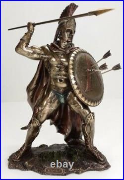 12.5 LEONIDAS Greek Warrior SPARTAN KING Statue Sculpture SPEAR Arrow In SHIELD