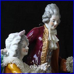 23 HUGE Volkstedt Germany Dresden Happy Family Gathering Porcelain Figurine