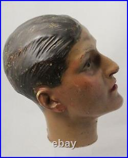 2x vintage 1930's Wax Head of male mannequin figure. Selling as a couple