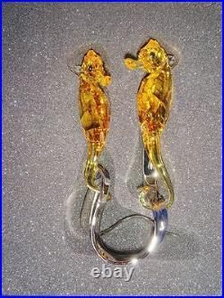 $325 Swarovski Crystal FO Seahorses 5103233 Light Topaz Figurine (No Sales Tax)