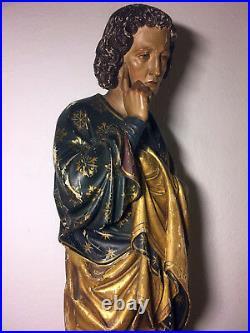 47 Rare Large Fine Antique Hand Carved Wood Patron Saint St John Apostle Statue