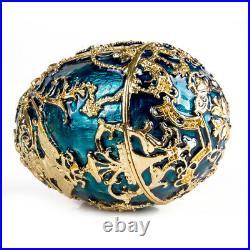 5.5 Russian Faberge Egg Replica. Tsarevich Music Box Egg, Blue and Gold