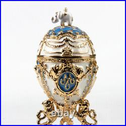 5.5 White Danish Jubilee Faberge Egg. Russian Empire Egg Enameled Keepsake