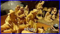 6 Anri Wooden Carved Karl Kuolt Nativity Set Scene Holy Family+26 Figurines