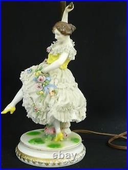 ANTIQUE LARGE 19 c MULLER VOLKSTEDT DRESDEN LACE FIGURAL PORCELAIN TABLE LAMP