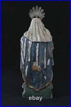 Antique 18th C carved wooden statue Madonna Holy Mary, glass eyes & polychrome