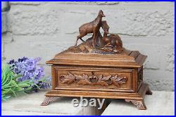 Antique Black forest Swiss wood carved box jewelry trinket 19th c deer animal