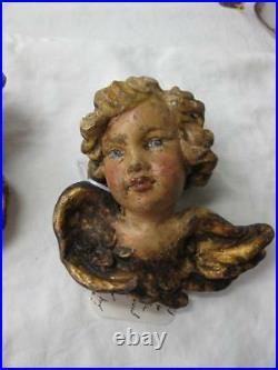 Antique Carved Angel Putti Cherub Figures 19thC Rare Polychrome Italy Germany