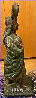 Antique Circa 1895 Samuel Robb Cigar Store Indian Princess Trade Sign Statue