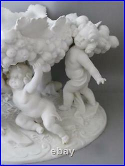 Antique French Bisque Paris Parian Porcelain Cherub Lrg Bowl Centerpiece Sevres