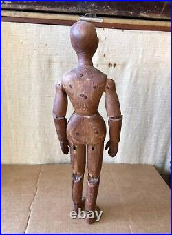 Antique French Carved Jointed Wood Artist Model, Mannequin, Lay Figure