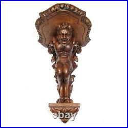 Antique French Hand Carved Wooden Wall Shelf, God Pan, Faun Satyr, Black Forest