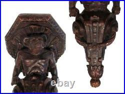 Antique French Hand Carved Wooden Wall Shelf, Gothic Gargoyle, Devil, Faun Satyr
