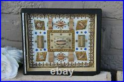 Antique French Relgious Frame with 9 relics saints