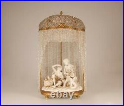 Antique French Victorian bronze crystal beaded lamp porcelain figurine sculpture