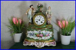 Antique French vieux paris porcelain mantel clock floral decor figurine