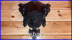 Antique Hand Carved Lion Walnut Wall Shelf Sconce Clock Shelf Victorian Eastlake