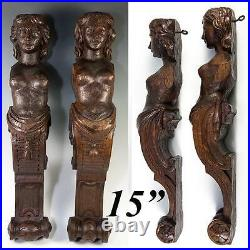 Antique PAIR of Carved Wood Caryatid Figures, 15 Tall, Cabinet or Architectural