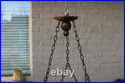 Antique french griffin gargoyles gothic castle 6 arms chandelier wood carved