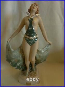 Art Deco Royal Dux Czechoslovakia Porcelain Figurine Of A Semi Naked Woman
