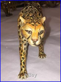 BIG Jay Strongwater Swarovski Crystal Figurine Standing Jungle Cheetah Leopard