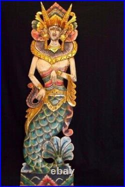 Balinese Mermaid Nyi Kidul wall Panel carved wood Bali architectural right Mul