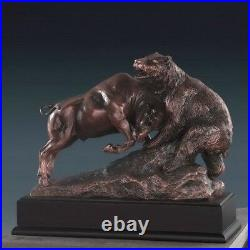 Bronze Electroplated Resin Fighting Stock Market Bull and Bear Sculpture Statue
