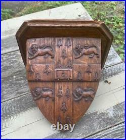 Cambridge University Lion Crest Shelf Antique Victorian Oak 19th C Wall Bracket