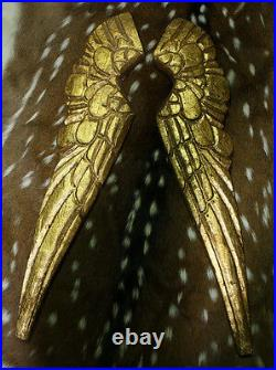 Carved Wooden Antique Style ANGEL WINGS Gold Gilt Leaf Distressed Wood Decor