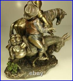 DON QUIXOTE SANCHO PANZA Sculpture Figure Spanish Statue Antique Bronze Finish