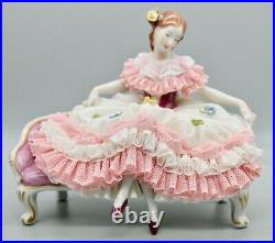 Dresden Lace VOLKSTEDT Porcelain Lace Figurine Countess Sitting on Bench