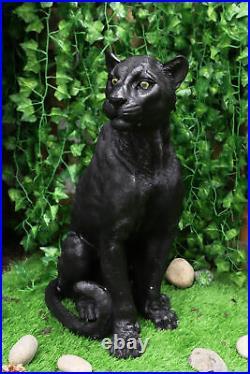 Ebros Realistic Large Black Ghost Panther Jaguar Hunter 20H Garden Patio Statue
