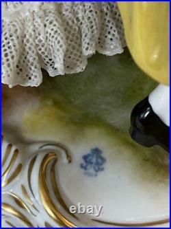 Excellent hand painted German Volkstedt Dresden Porcelain Dancing Scene group