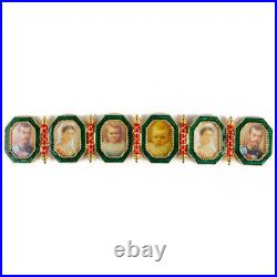 Faberge Egg Replica Made Russia Gift Box Napoleonic Egg withPortrait Frames Green