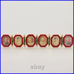 Faberge Egg Replica Made Russia Gift Box Red Napoleonic Egg with Portraits Frames