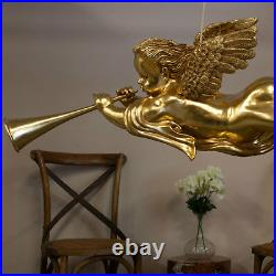 Gabriel Angel Gold Leaf Hanging Sculpture Trumpet Cherub Holiday Christmas 50