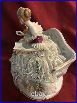 Heinz Schaubach Unterweissbach Dresden Lace Figurine Lady With Parrot