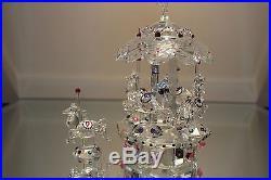 Iris Arc Crystal Carousel Limited Ed 339/1500 withHorses Faceted RARE Swarovski