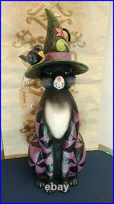 Jim Shore BLACK CAT WITCH STATUE Polyresin Halloween 4060316