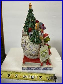 Jim Shore Grinch Max Santa Sleigh Stealing Presents & Christmas Trees 600884