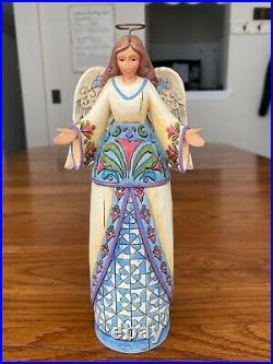 Jim Shore Heartwood Creek Large Blue Nativity with Custom Stand & Angel (Retired)