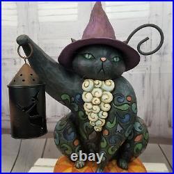 Jim shore heartwood creek lamp light halloween Cat On night watch RARE 4007988