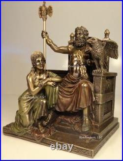 KING ZEUS GOD of THUNDER & HERA on Throne GREEK MYTHOLOGY Statue Bronze Finish