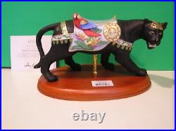 LENOX BLACK PANTHER or JAGUAR Cat CAROUSEL sculpture horse NEW in BOX with COA