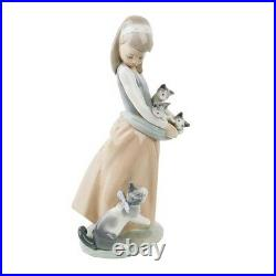 LLADRO Following Her Cats #1309 Young Girl Holding Kittens with Cat Retired