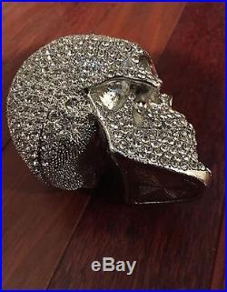 L'Objet Swarovski Crystal Limited Edition Medium Skull Figurine Silver