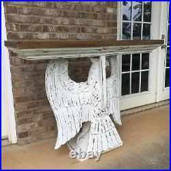 Large Carved Wooden Eagle Table Statue USA White Washed Console Hall Art