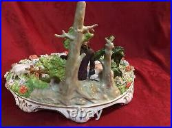 Large Sitzendorf Dresden Lace Figurine Lovers Couple Pond Lambs Pastoral Scene
