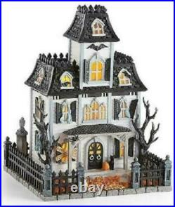 Lenox Halloween Lighted Haunted Mansion House with Sound Witch Cries Black Cat NIB