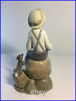 Lladro Figurine 5166 Sea Fever, Mint, Retired, Boy with Sail Boat & Dog